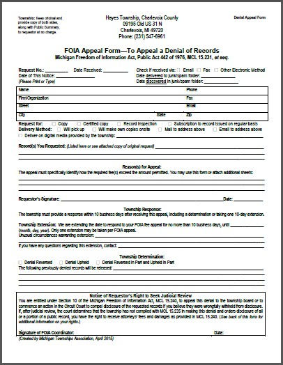 foia denial form